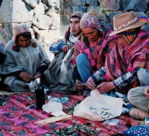 Q'ero making despacho at Raqchi- Bernadino, Sebastian, Juan Flores, manuel Q'espi, American Yabar CROPPED