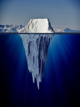 iceberg with underwater view