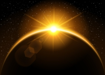 Rising sun behind the planet - vector illustration