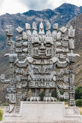 Wiracocha statue in Calca  the peruvian Andes on Cuzco Peru
