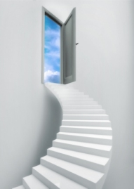 ladder stairs heaven door freedom blue sky