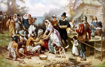 thanksgiving-Indians and Pilgrims compressed Pixabay 5616807_1280